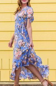 MIAMI FRANCESCAS blue floral wrap dress